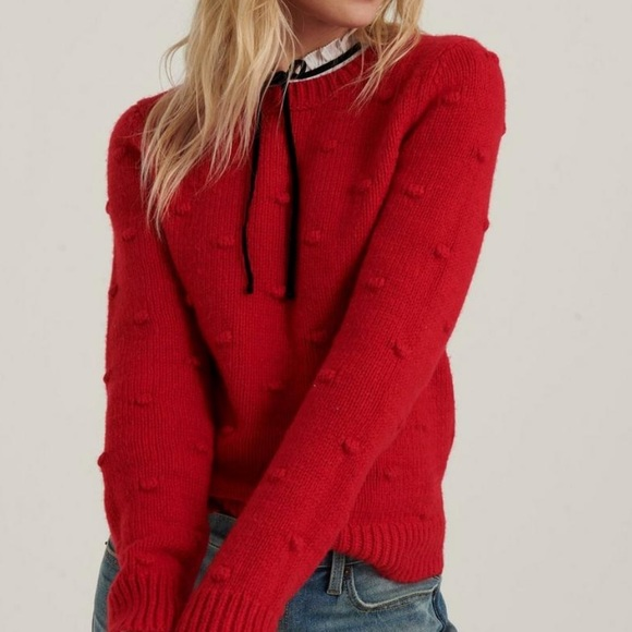Lucky Brand Bobble Crew Neck Long Sleeve Sweater NWT
